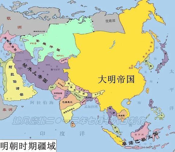 明朝疆域变化图,中外历史书上的明朝疆域图,没有对比就没有伤害