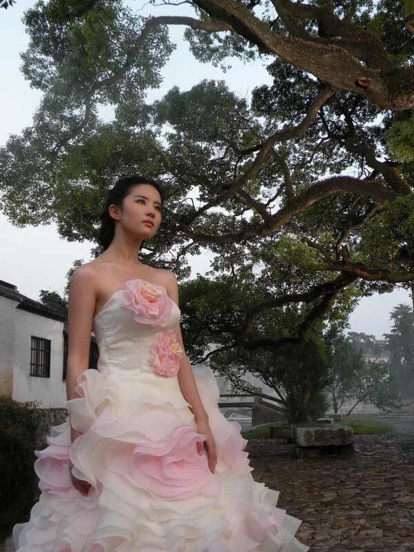 朦胧美!刘亦菲身穿漏肩蛋糕裙,搭配上盘发造型,太湖仙子下凡!