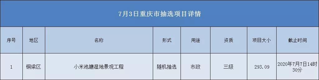 2020.07.03重庆市项目汇总