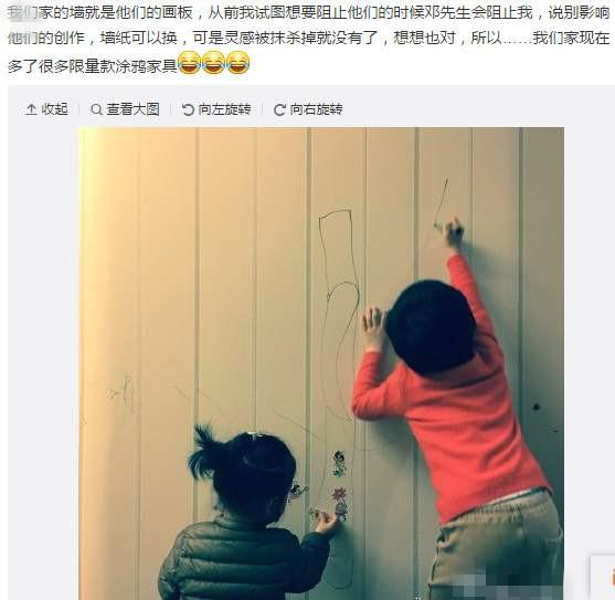 """孙俪放任孩子在家""""创作"""",墙壁上满是涂鸦,教育方式获网友认同"""