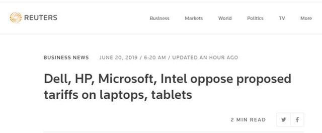 电脑的关税,戴尔惠普微软英特尔发声明:反对特朗普关税政策