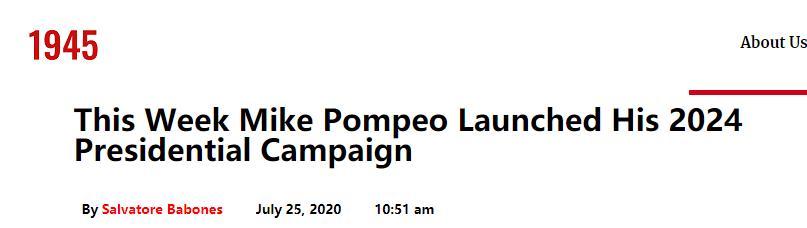 """美国""""1945""""网站刊发评论:尼克松图书馆演讲显示出""""蓬佩奥参选2024年美国总统""""意图"""