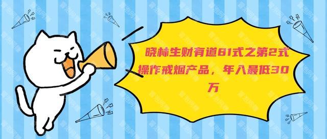 晓林生财有道81式之第2式操作戒烟产品,年入最低30万【免费课程】