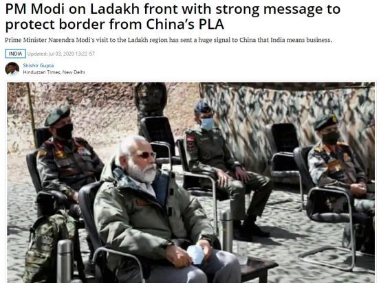 印度总理莫迪突然访问中印边境拉达克,距中印最近冲突地加勒万河谷不远,印度媒体:这释放了一个强烈的信号