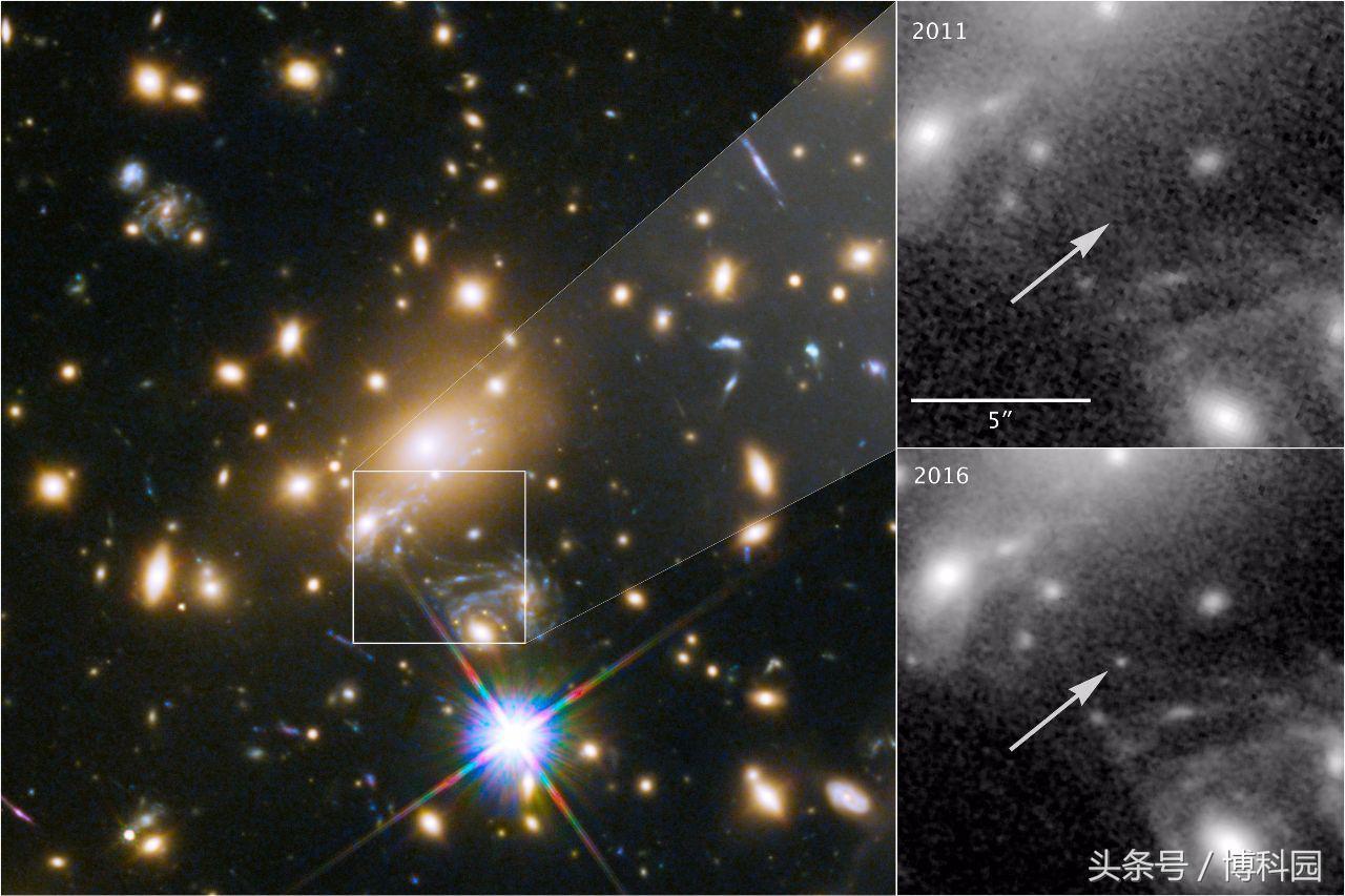 最新通过引力透镜看到90亿光年外巨大星系团中的蓝超巨星
