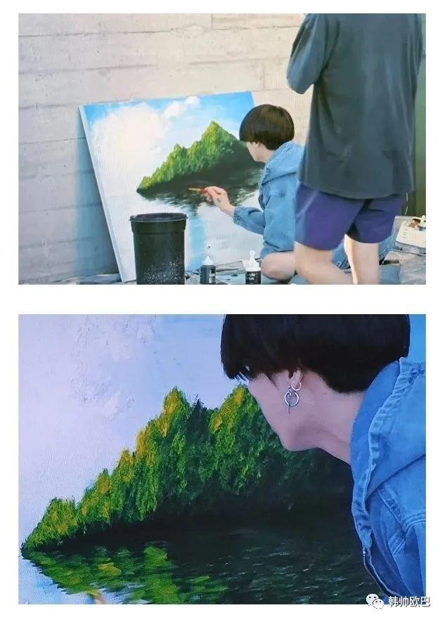男团爱豆完成风景画的过程