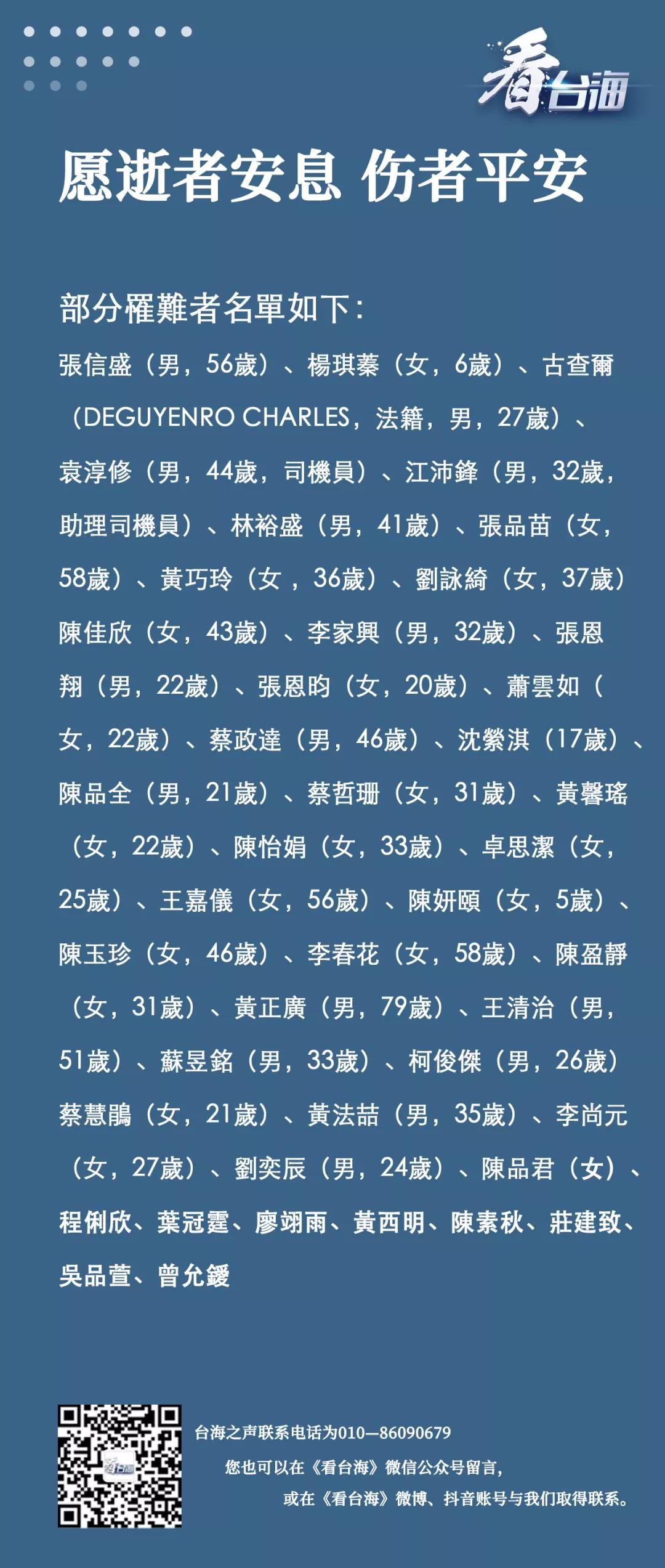 台湾部分铁路事故遇难者名单公布