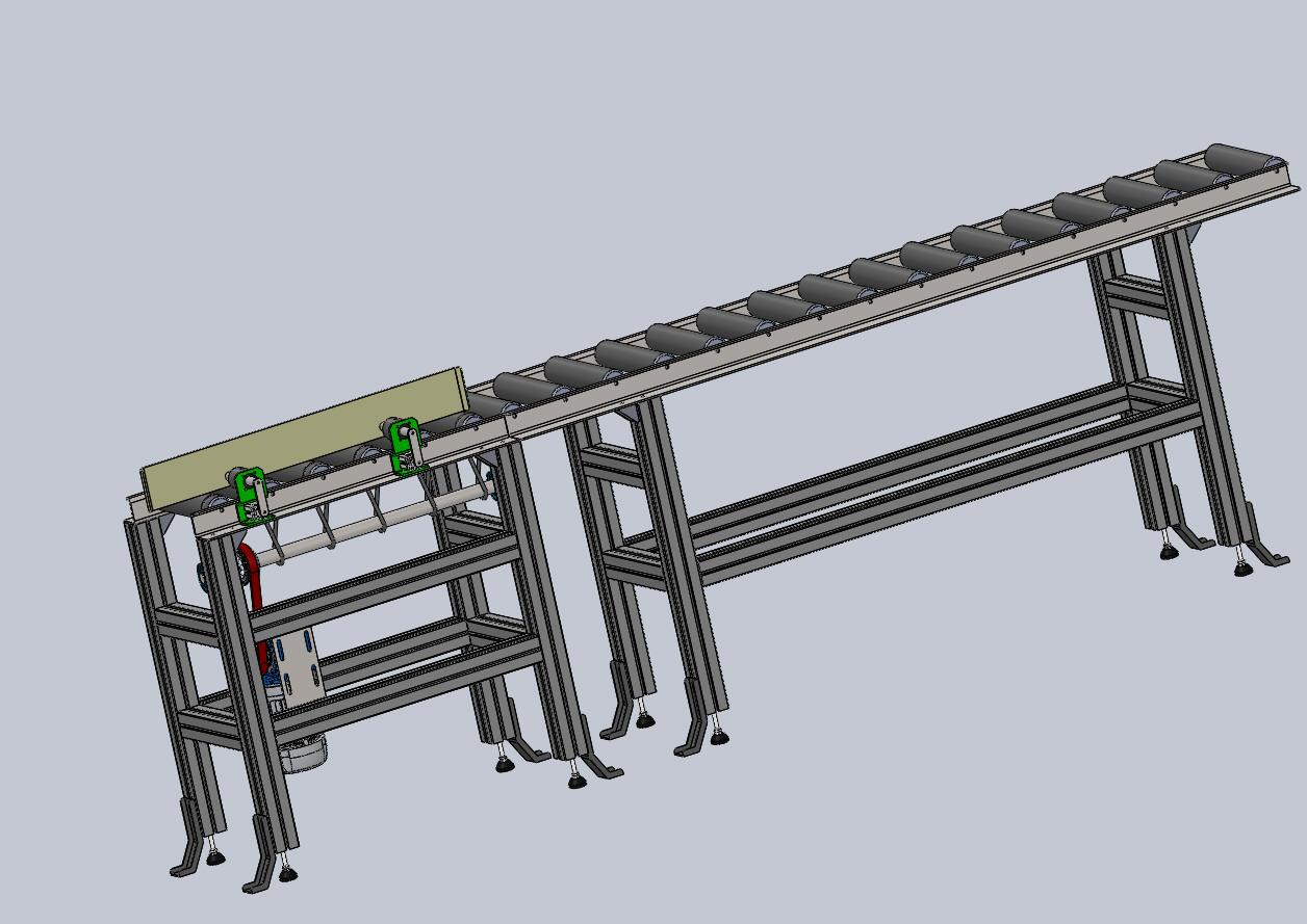 W00000滚筒输送机3D图纸 STEP格式