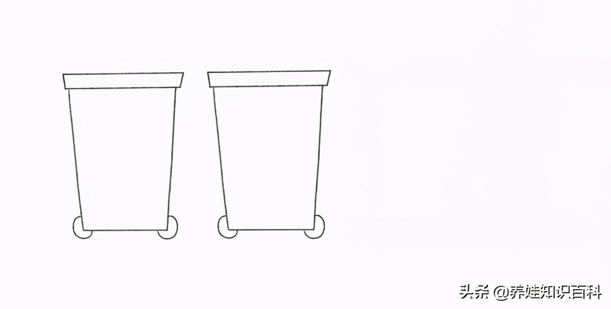 垃圾桶怎么画?分类垃圾桶的简笔画画法详解,送给喜欢的小朋友