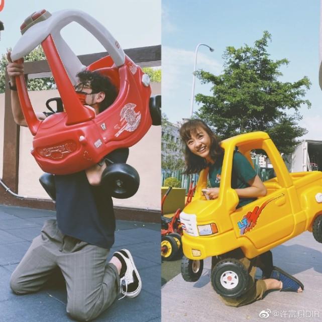 陳意涵老公學她鑽2歲兒子小車,腦袋卻被卡住,跪地掙扎表情痛苦