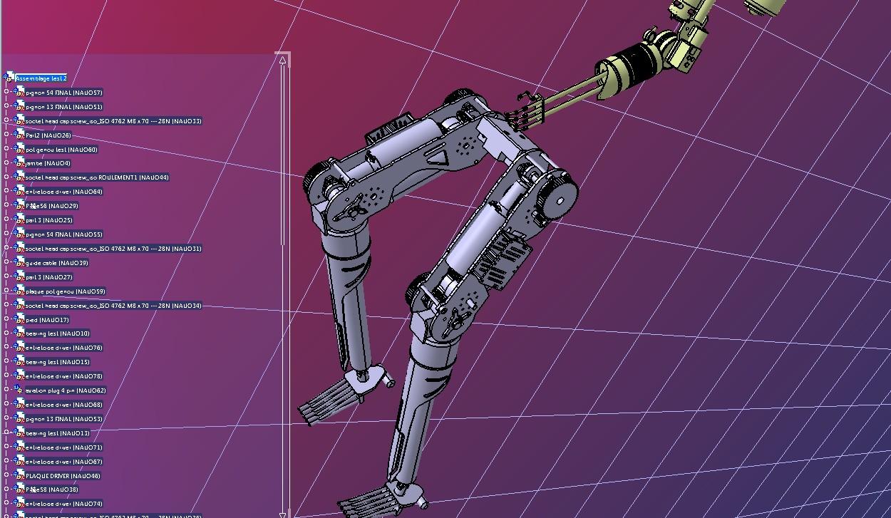 Stinger人形机器人机械腿结构3D图纸 STEP格式