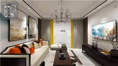 新中式风格140㎡长沙明昇壹城21-3005装修全景效果图V2021070307