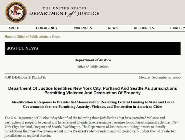 """美司法部正式宣布,紐約、波特蘭、西雅圖為""""無政府主義管轄區"""""""