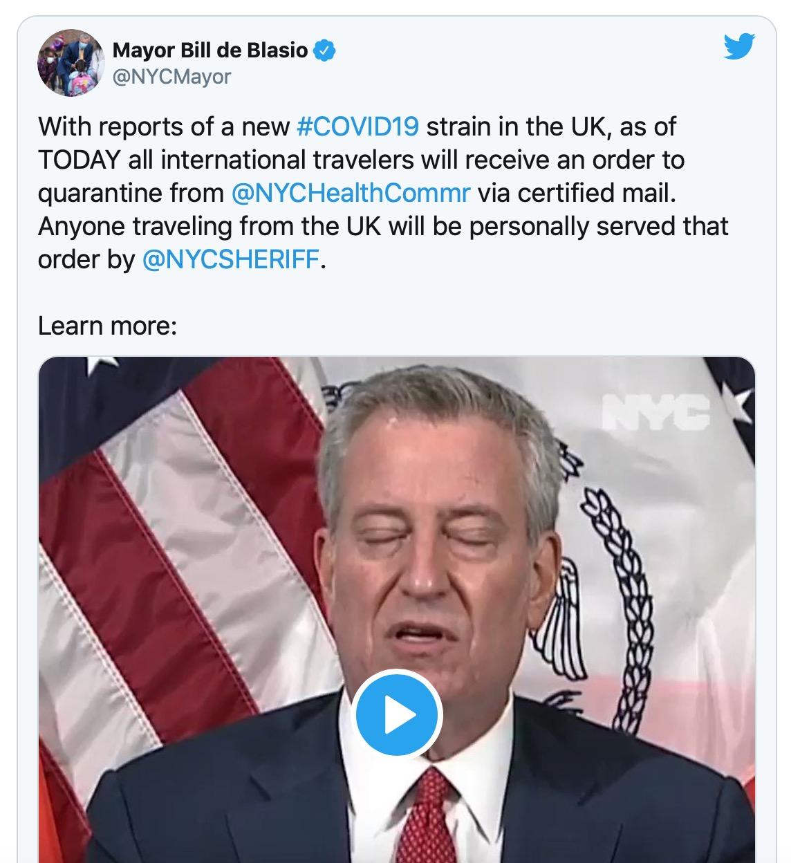 纽约市要求所有国际旅客入境后隔离,英国旅客将受警察监督