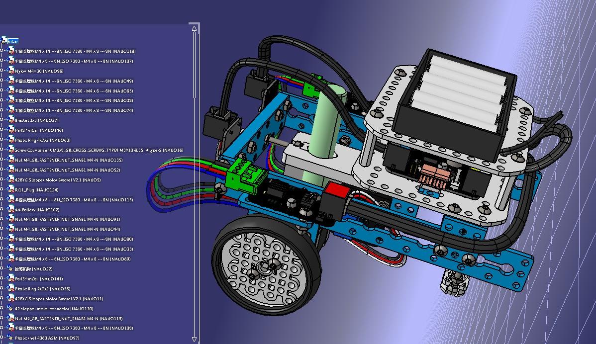 mCar画图玩具小车机器人3D图纸 STEP格式