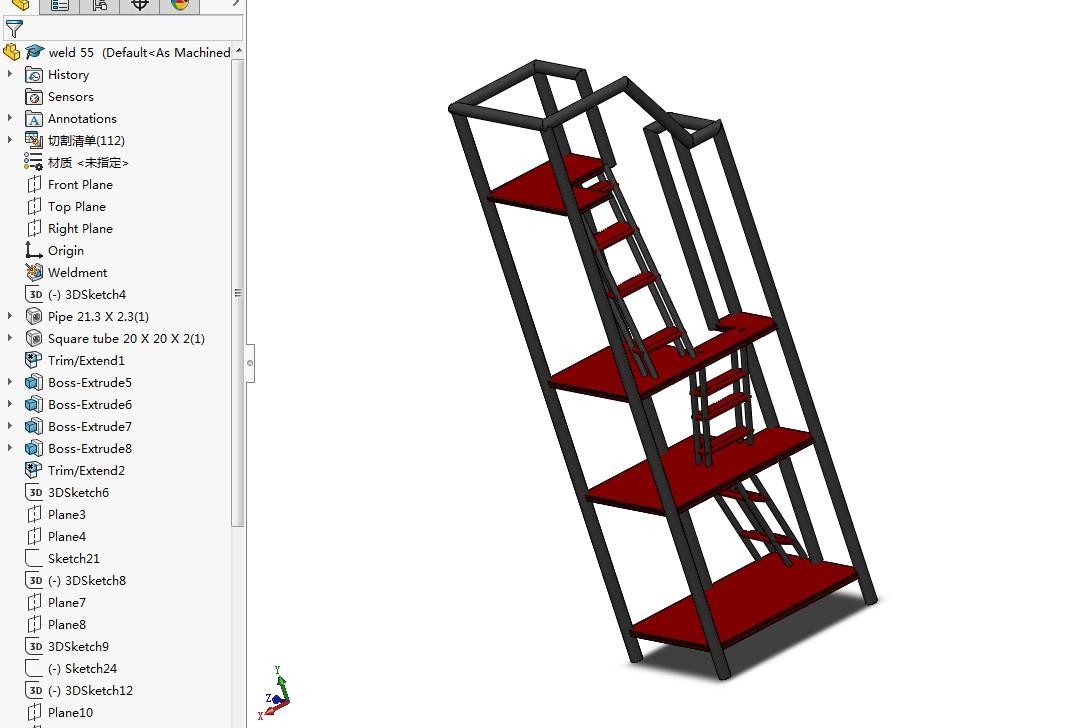 weldment多层结构焊接件3D图纸 Solidworks设计