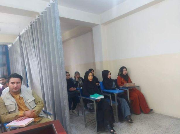 阿富汗大学男女生用窗帘隔开上课,很多女生不敢上学