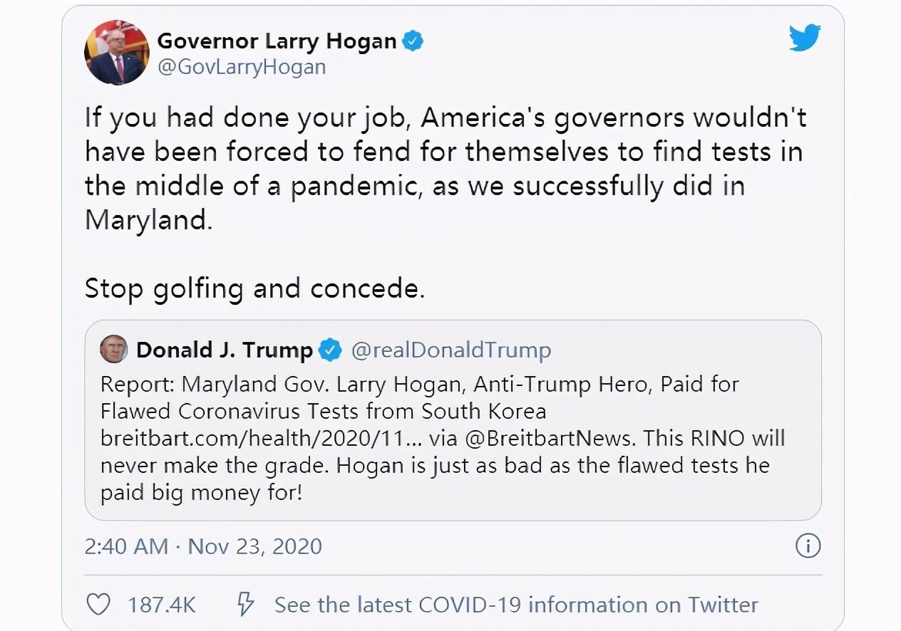花高价买缺陷试剂盒遭特朗普抨击,州长回击:别打高尔夫,认输吧