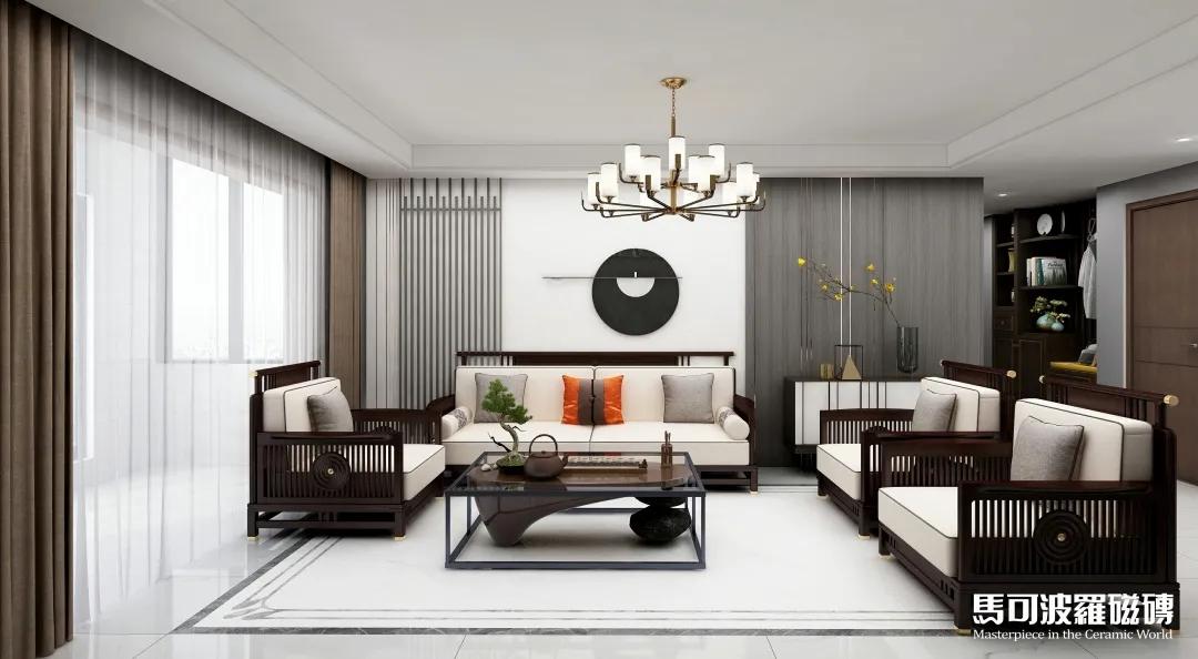 马可波罗瓷砖水刀拼花 | 轻奢新中式,雅致新居室