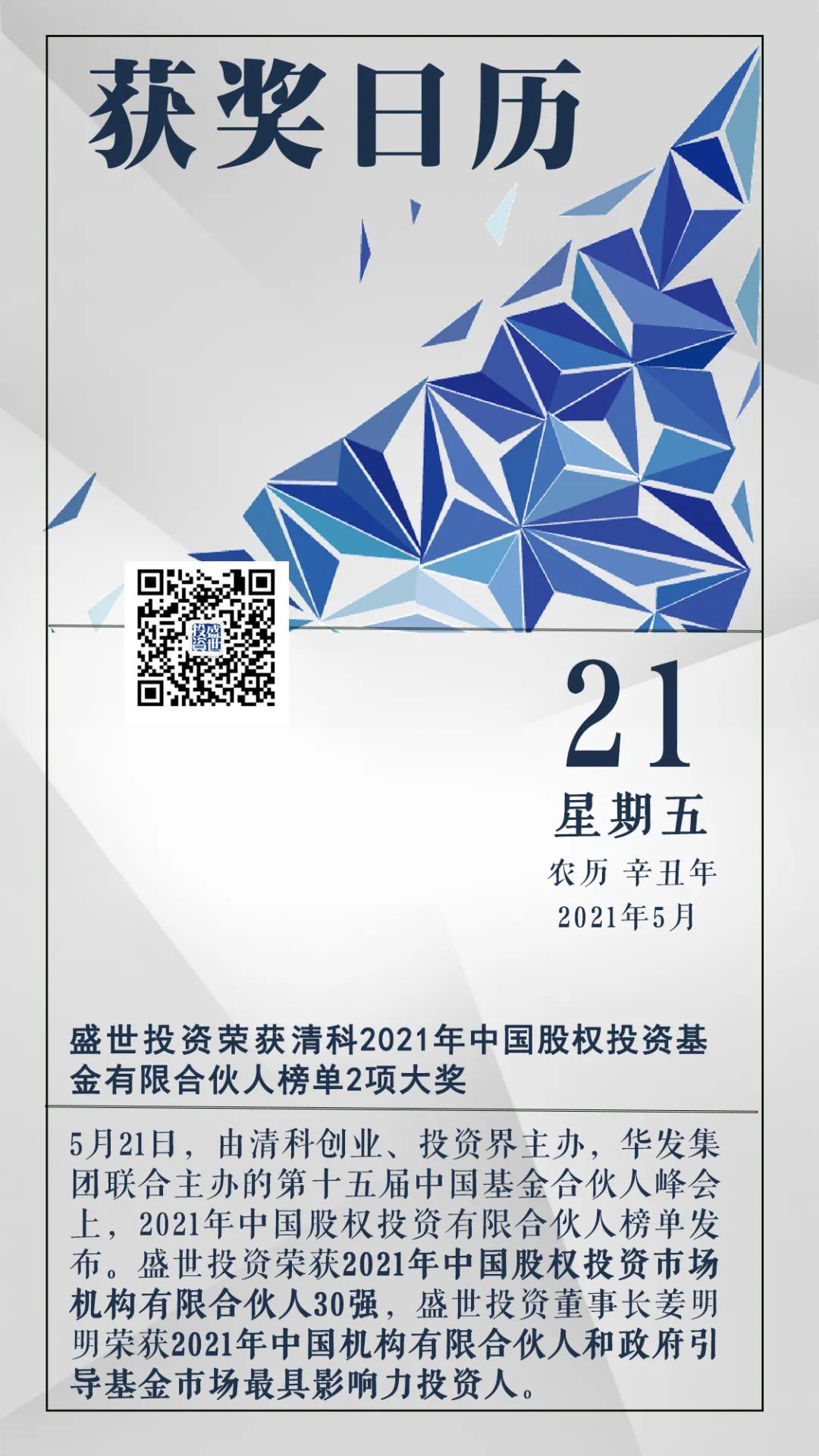 盛世投资荣获清科2021年中国股权投资基金有限合伙人榜单2项大奖