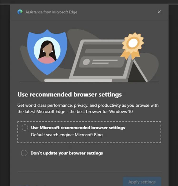 微软利用浏览器在桌面弹出广告推荐用户将必应设置为默认搜索引擎