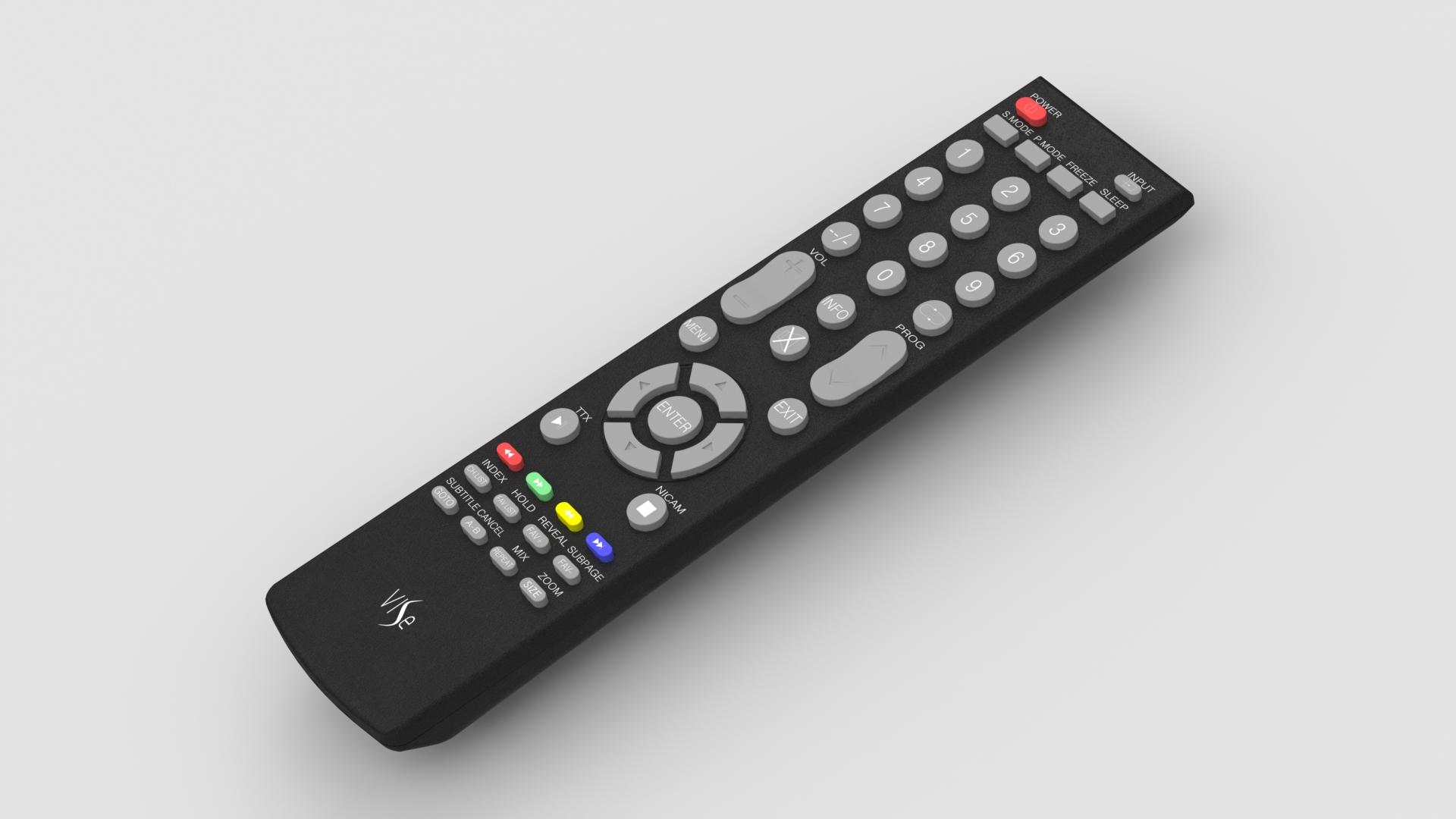 Vise电视遥控器简易模型3D图纸 Solidworks设计