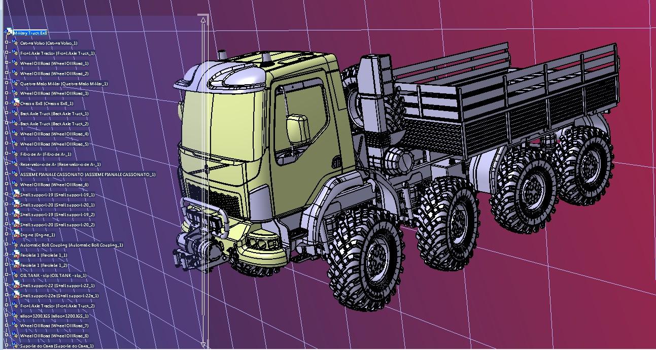 Military Truck 8x8卡车模型3D图纸 STEP格式
