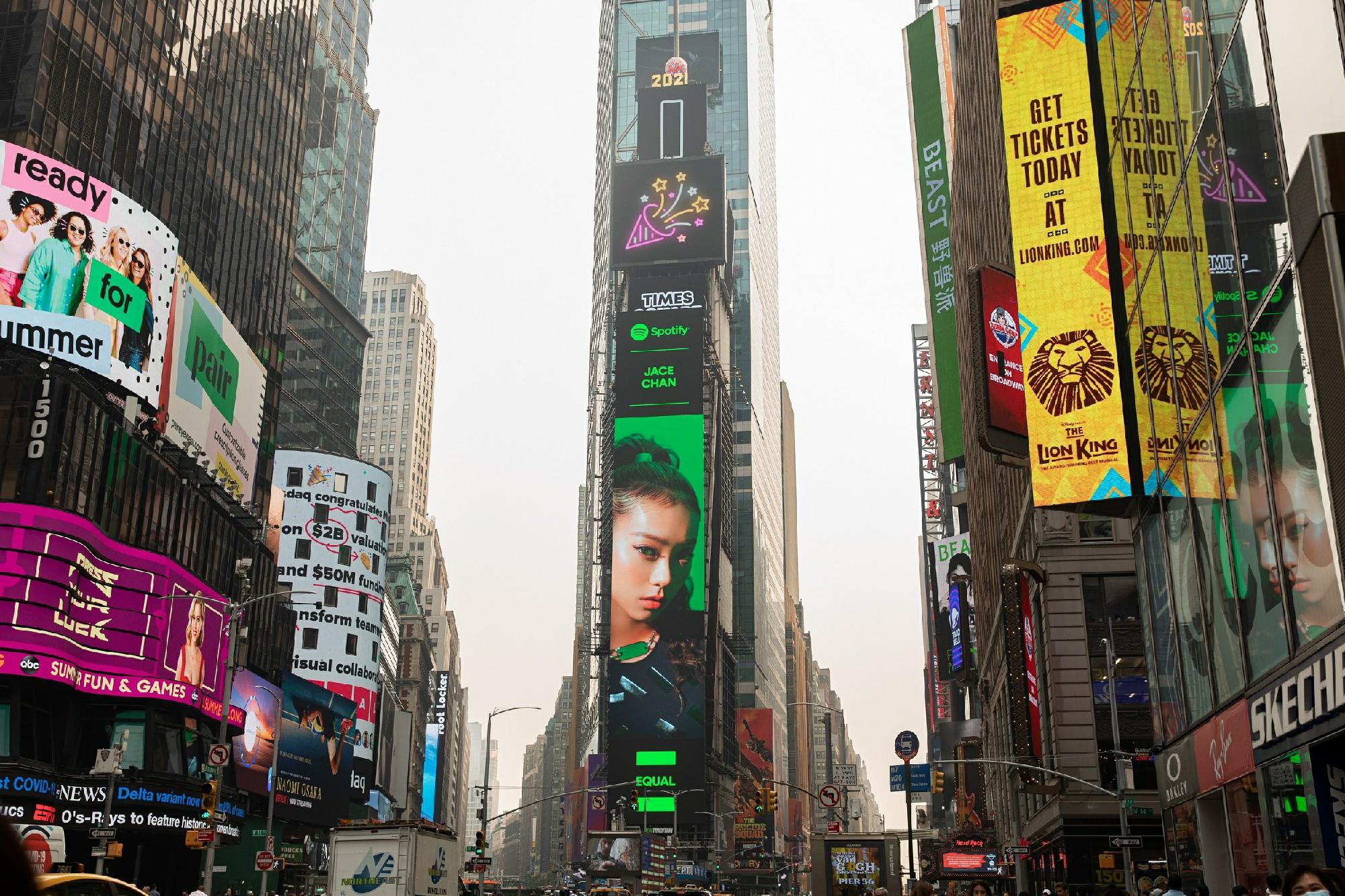 Jace陈凯咏首张专辑获白金认证 登纽约时代广场受全球瞩目